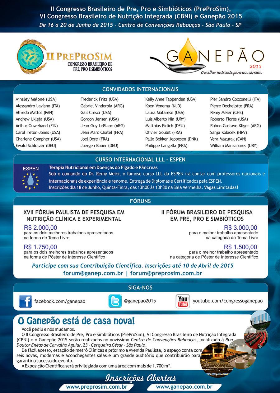 II Congresso Brasileiro de Pre, Pro e Simbióticos – PreProSim – VI Congresso Brasileiro de Nutrição Integrada (CBNI) e Ganepão 2015