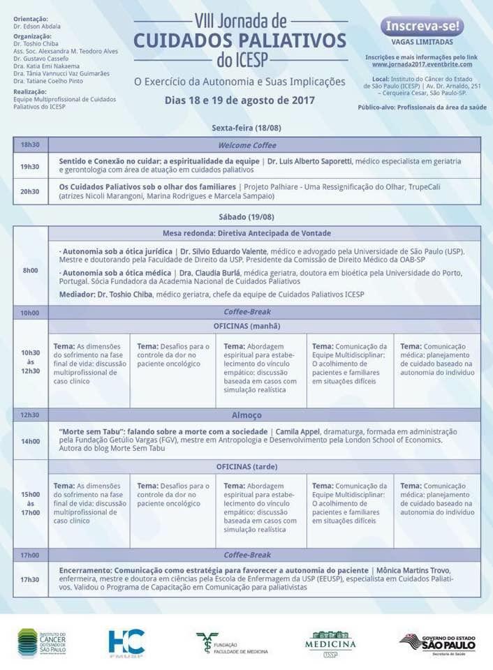 VIII Jornada de Cuidados Paliativos do ICESP – O Exercício da Autonomia e suas Implicações